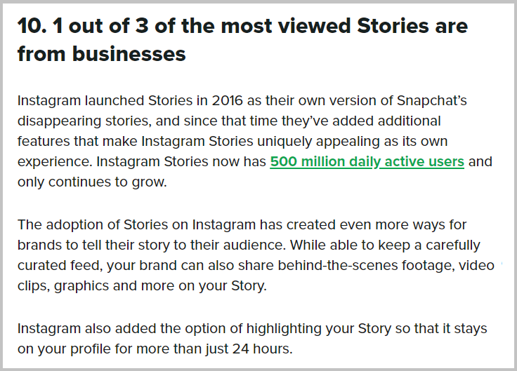 Instagram stories from businesses stat