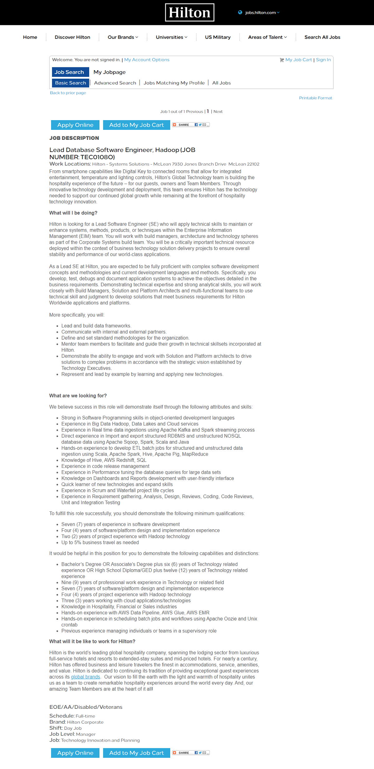 Hilton Taleo Job Description Page Before