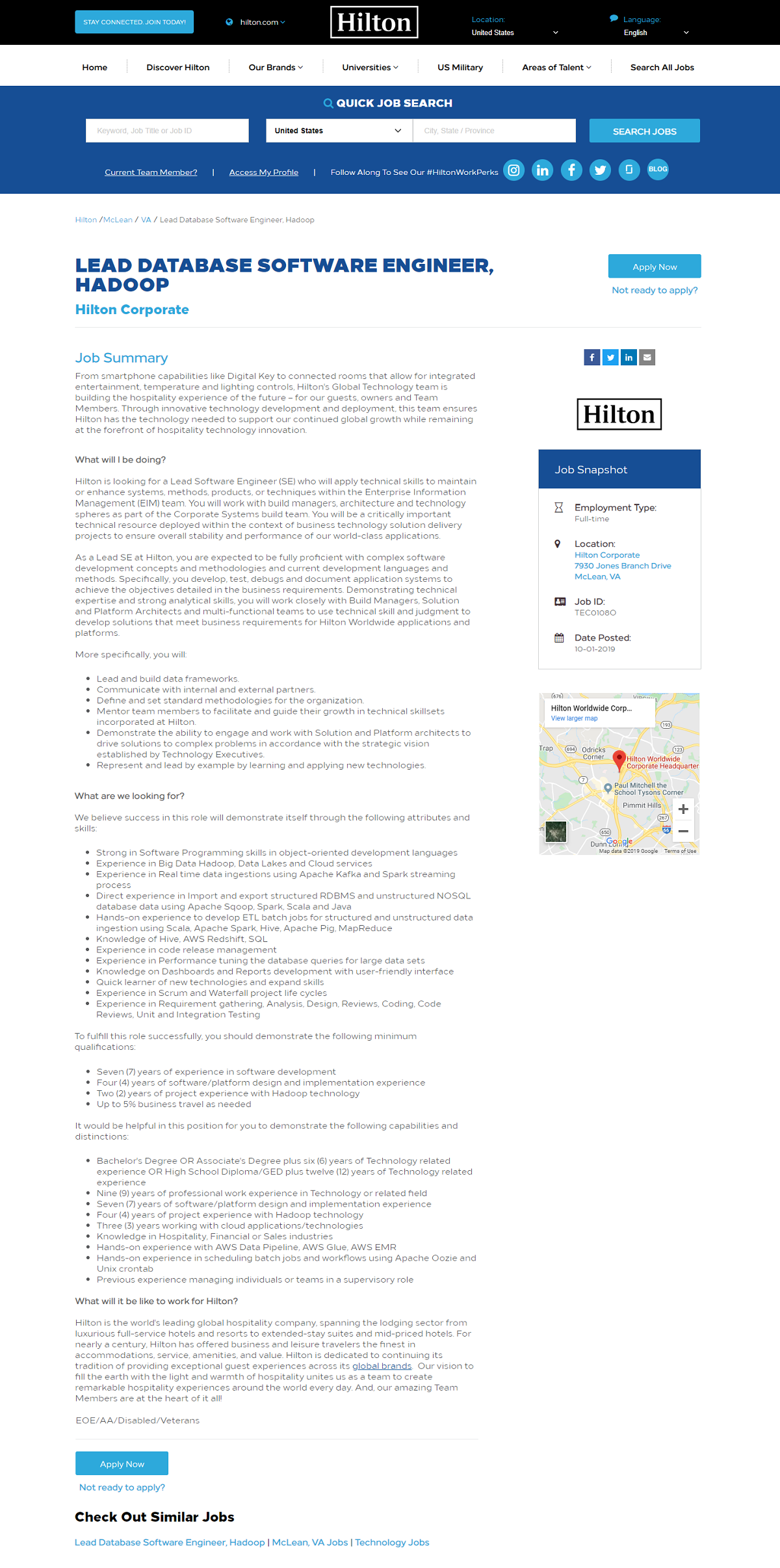 Hilton Taleo Enhanced Job Description After