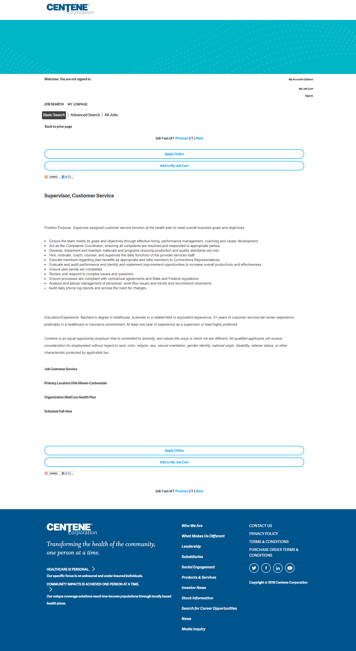 Centene Taleo Job Description Page Before