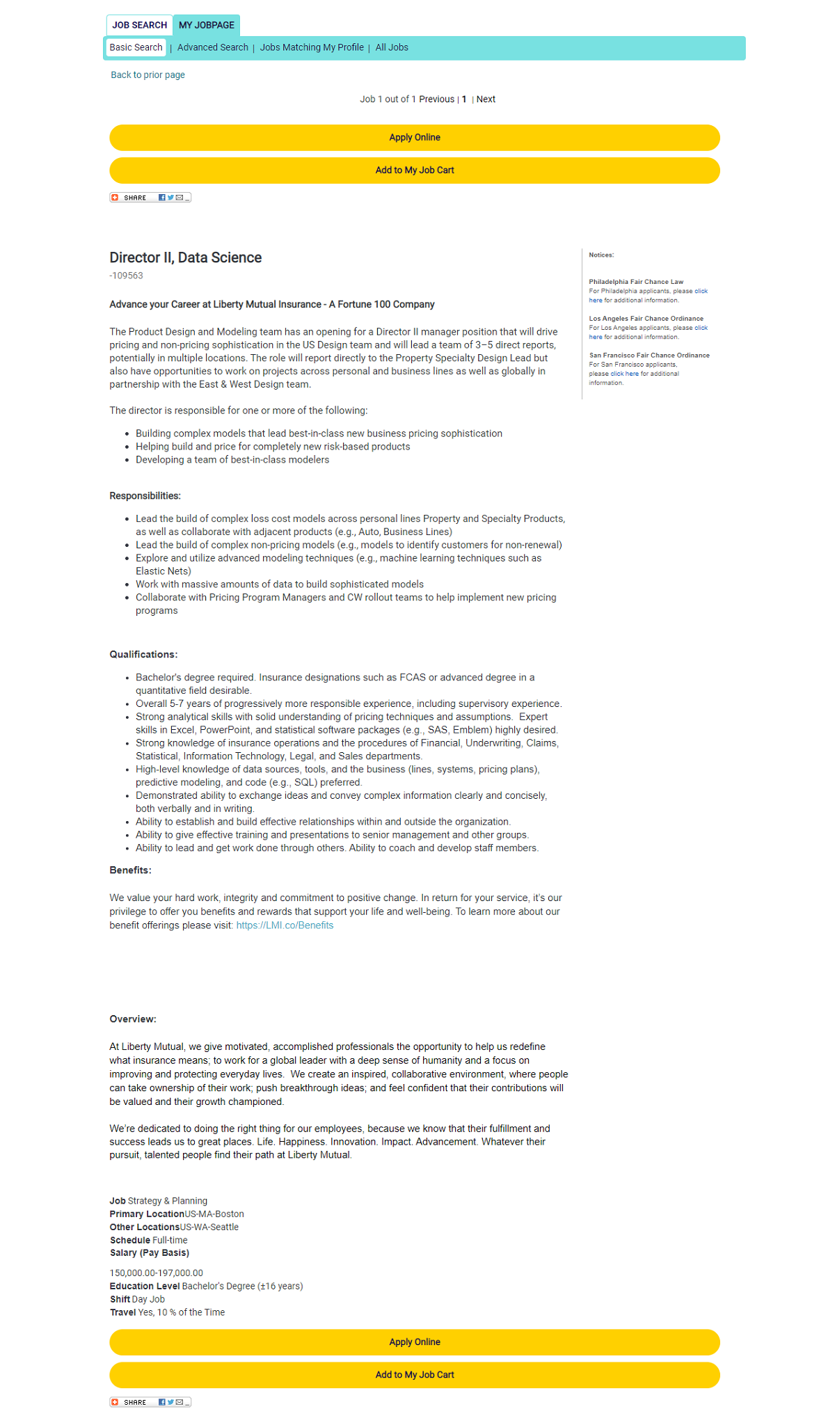 Liberty Mutual Taleo Job Description Page Before
