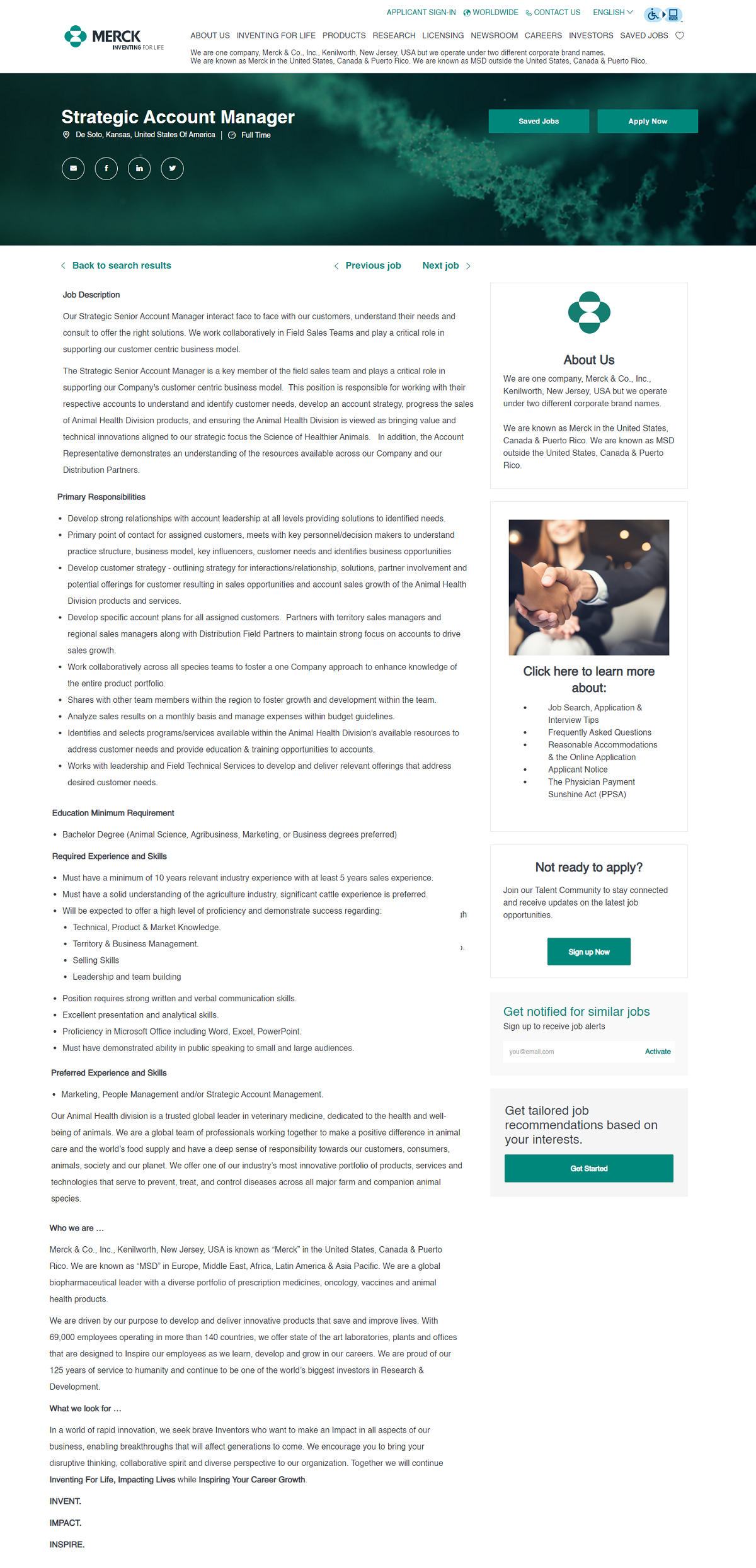 Merck job ad