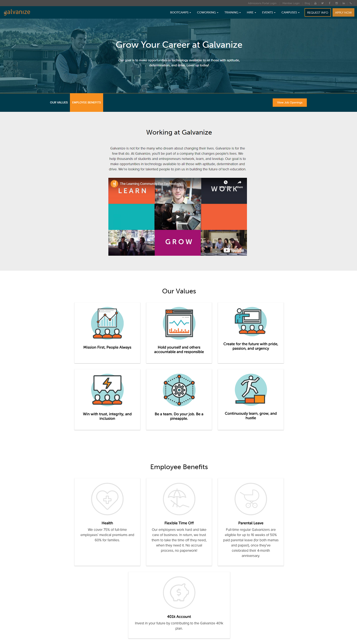 Galvanize company career page