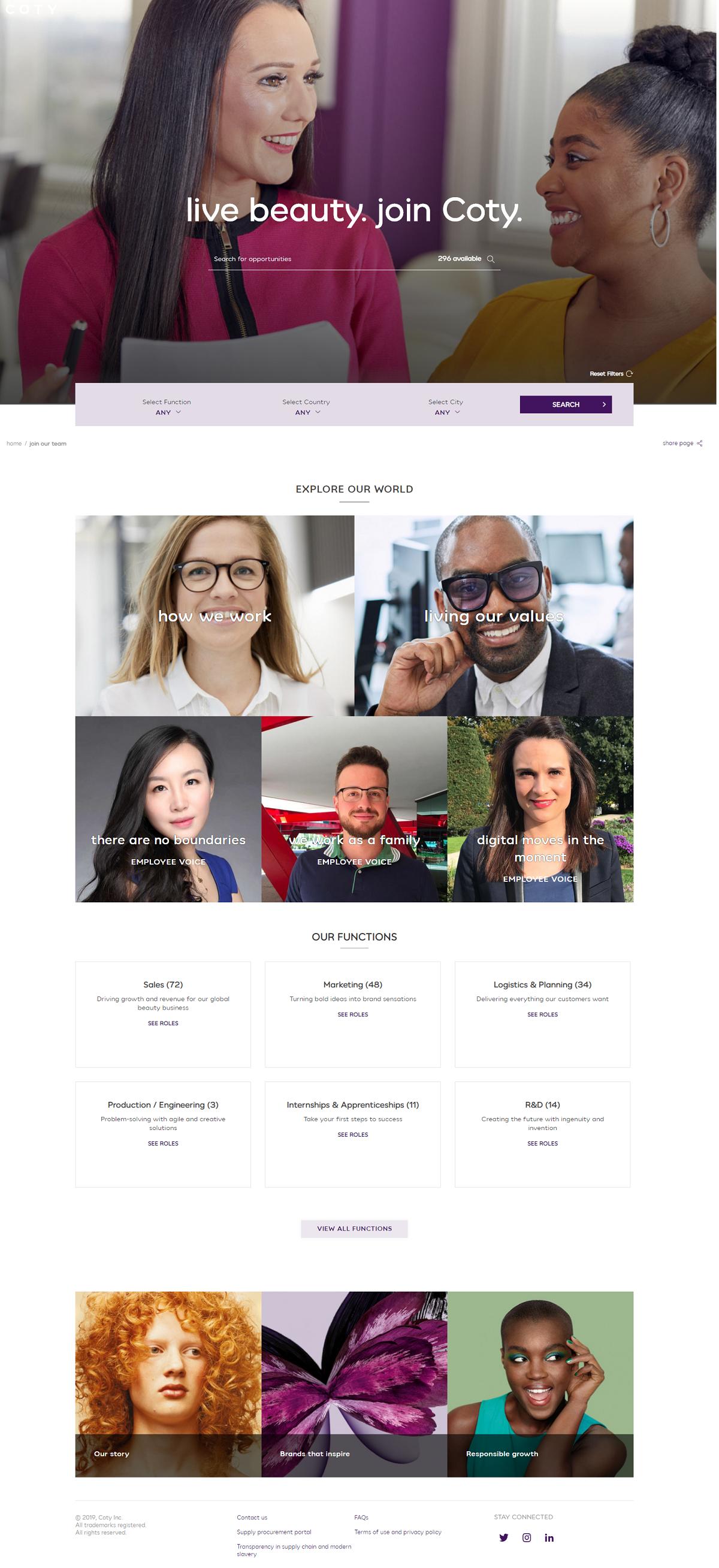 Coty company career page