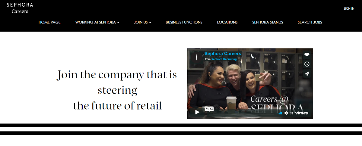 Sephora company career page video