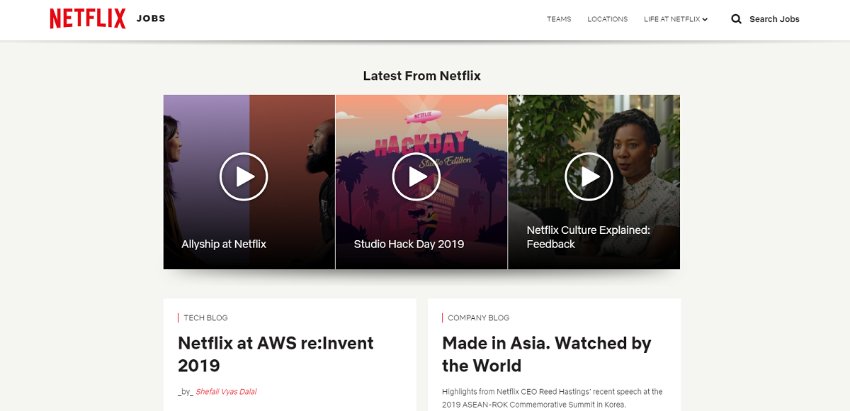 Netflix company career page supporting videos