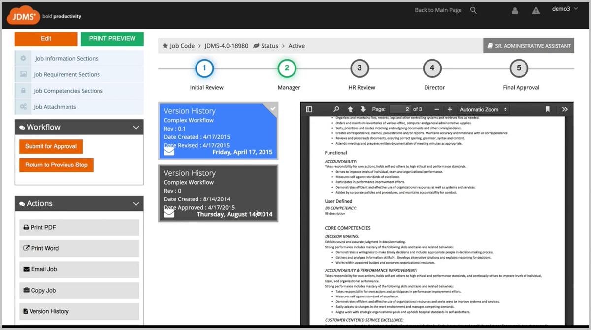 Hrizons job description management software