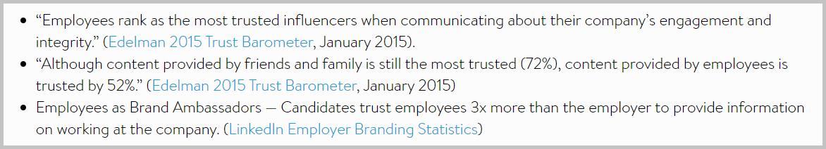 employee testimonial stats
