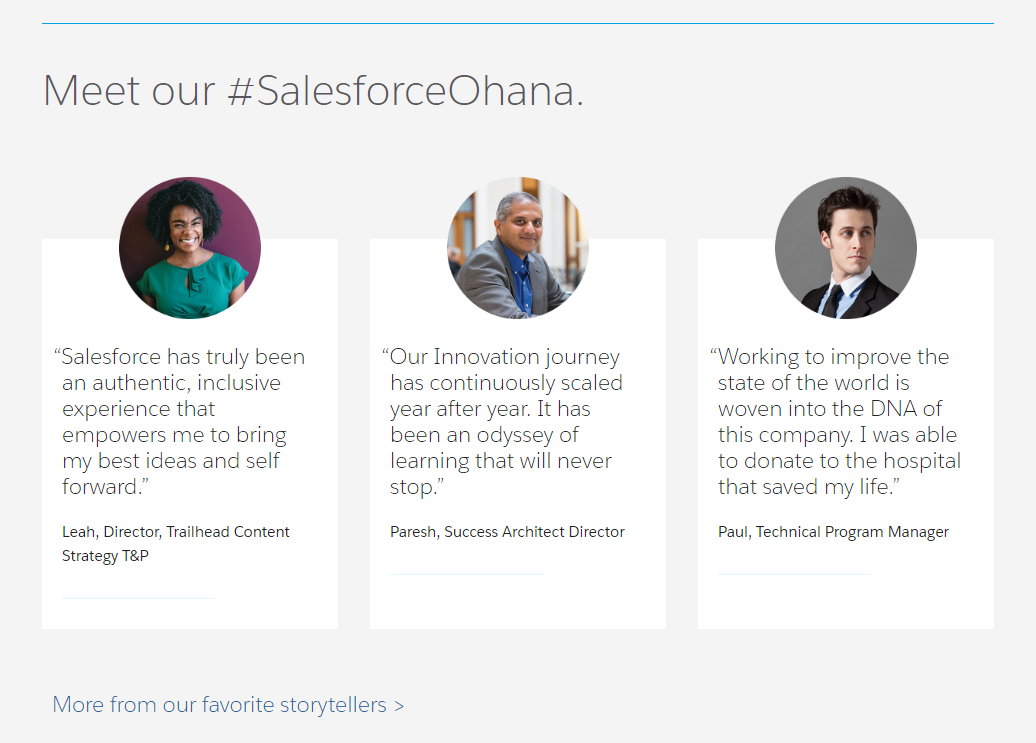 Salesforce career page employee testimonials