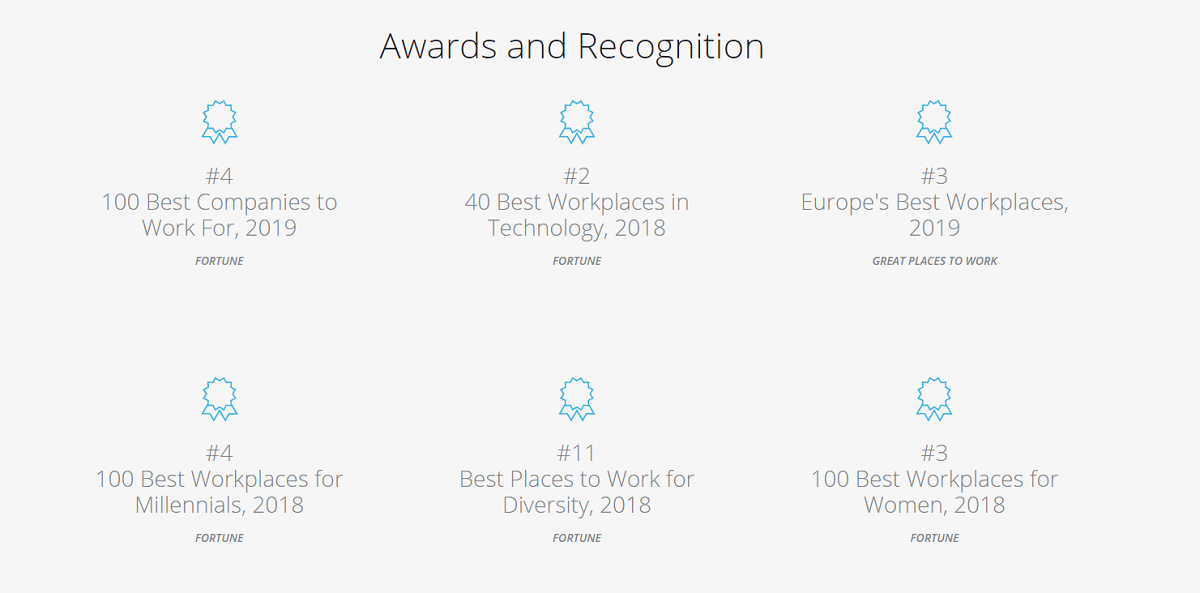 Employer of choice awards on Workday's career page