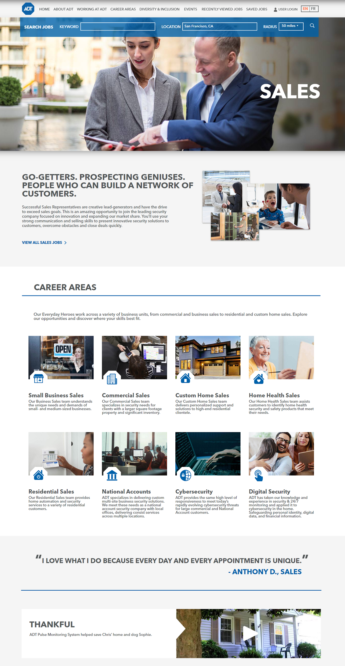 ADT sales recruiting microsite