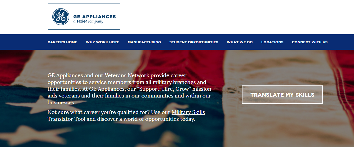 Veterans section of GE career page