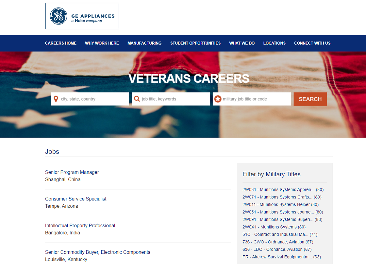 Veterans job search page