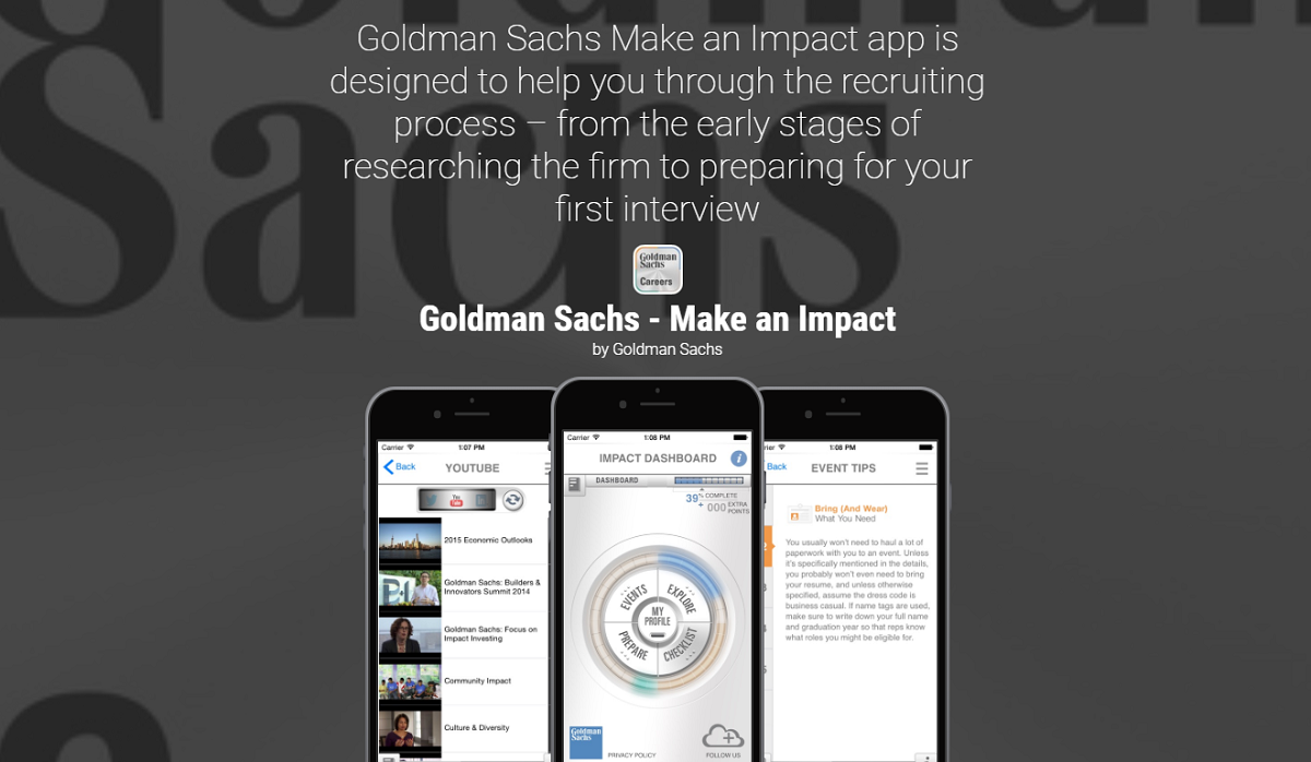 Goldman Sachs recruiting mobile app