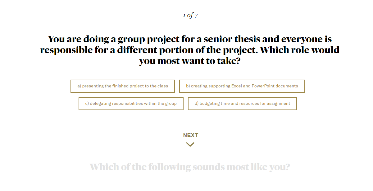 Question 1 of BNY Mellon career quiz
