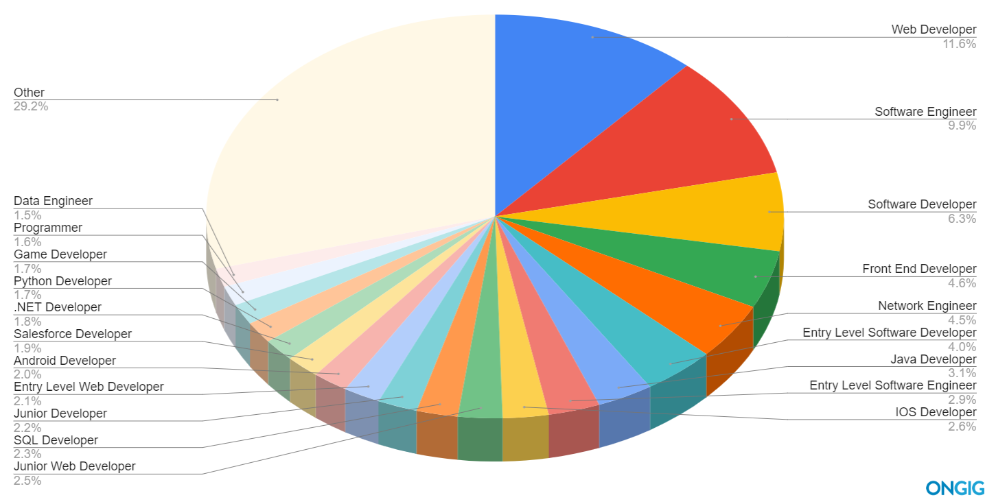 Pie chart of the top 20 software job titles searched
