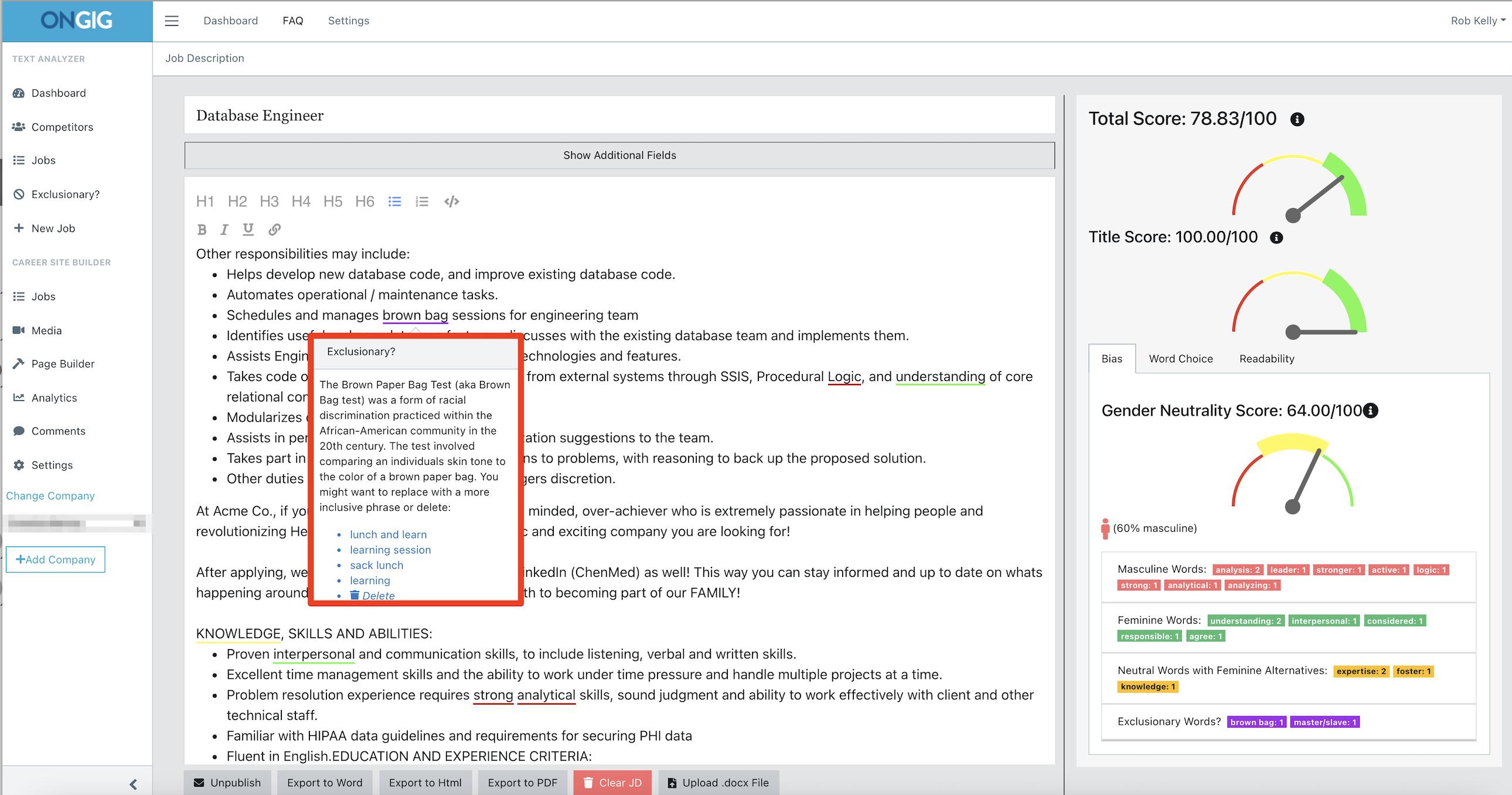 augmented writing job description tool race