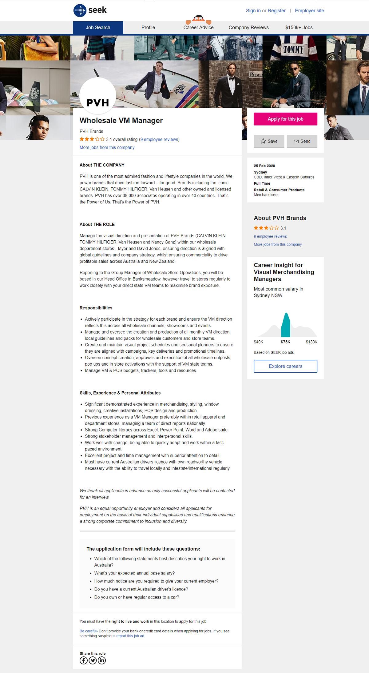 Seek job posting site