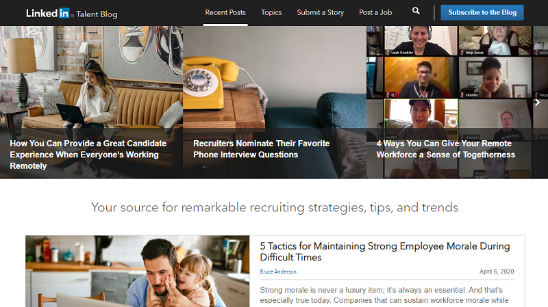 LinkedIn Talent blog homepage