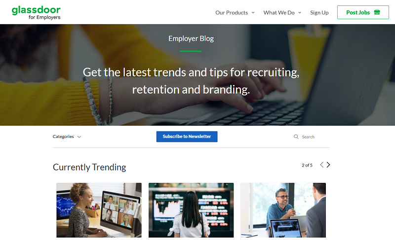 glassdoor for employers blog homepage