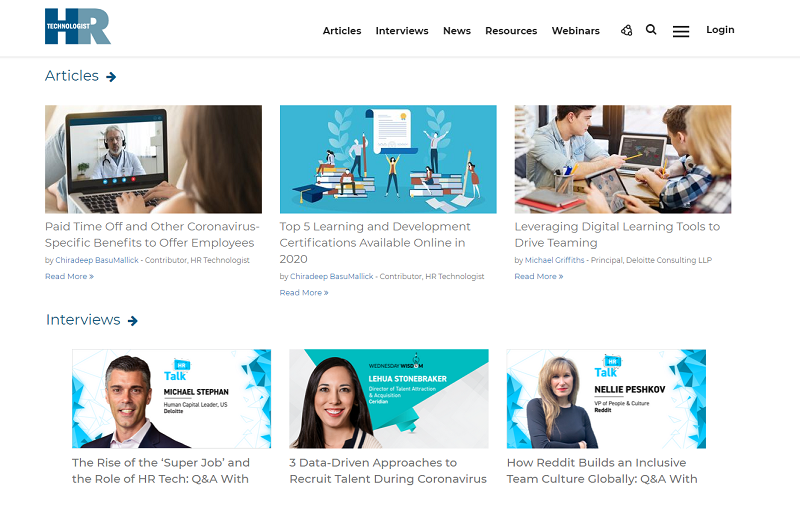 HR technologist recruitment blog homepage