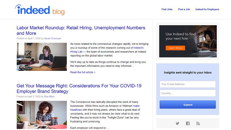 Indeed blog homepage