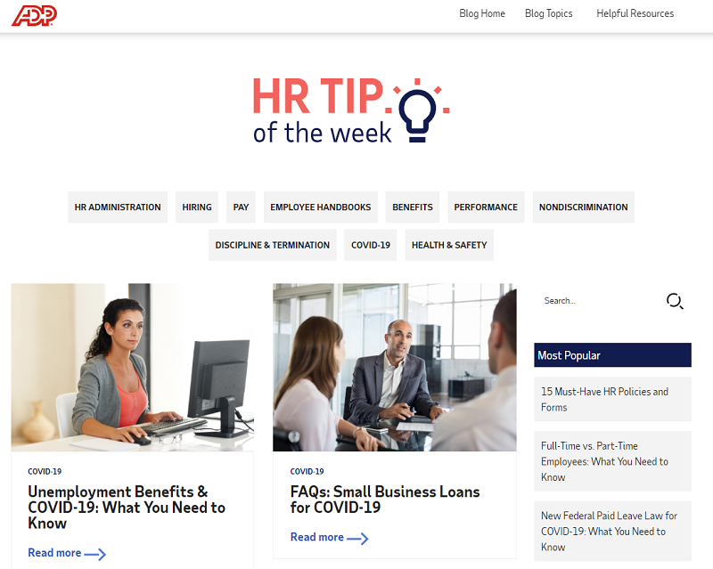 ADP hr blog homepage