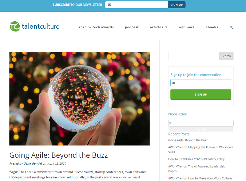 talentculture blog homepage