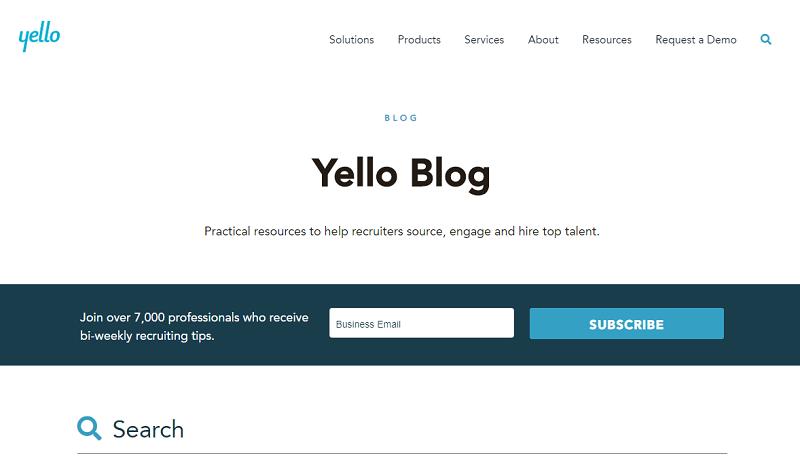 yello recruitment blog homepage