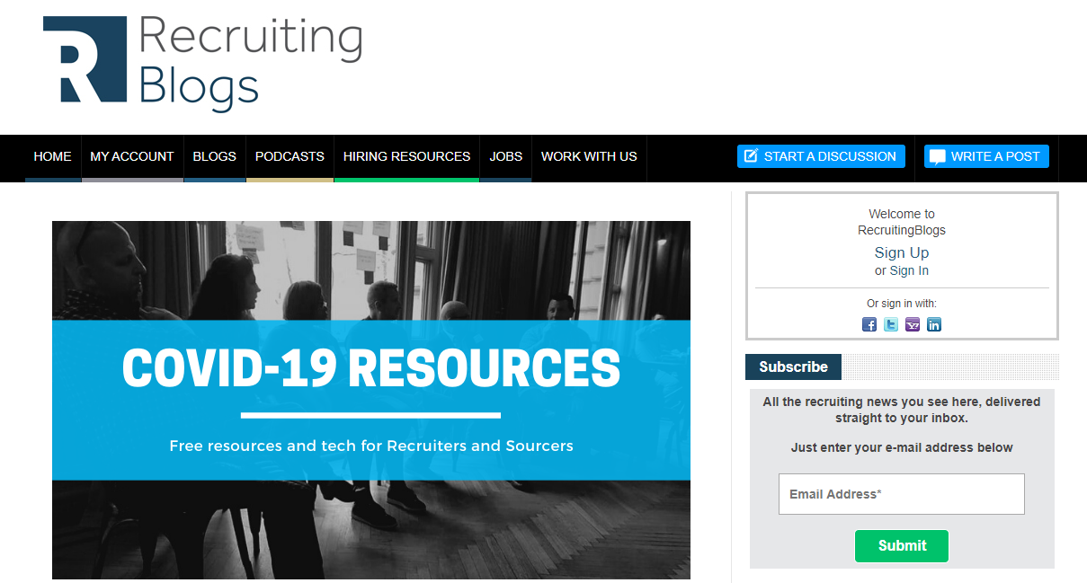 recruiting blogs homepage