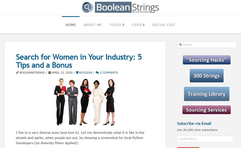 Boolean strings blog homepage
