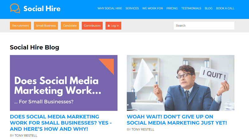 social hire recruitment blog homepage