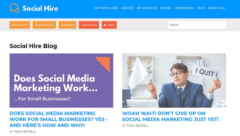 social hire recruitment blog homepage