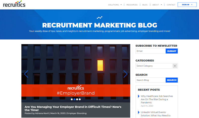 recruitics recruitment marketing blog homepage