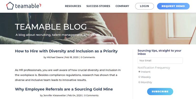 teamable blog homepage