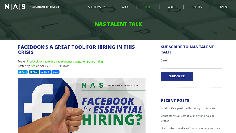Nas recruitment blog homepage