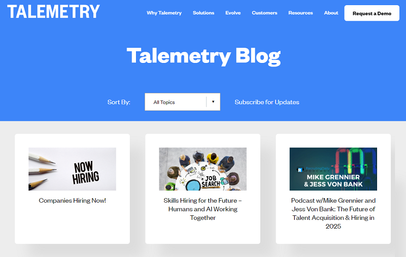 Talemetry recruitment blog homepage