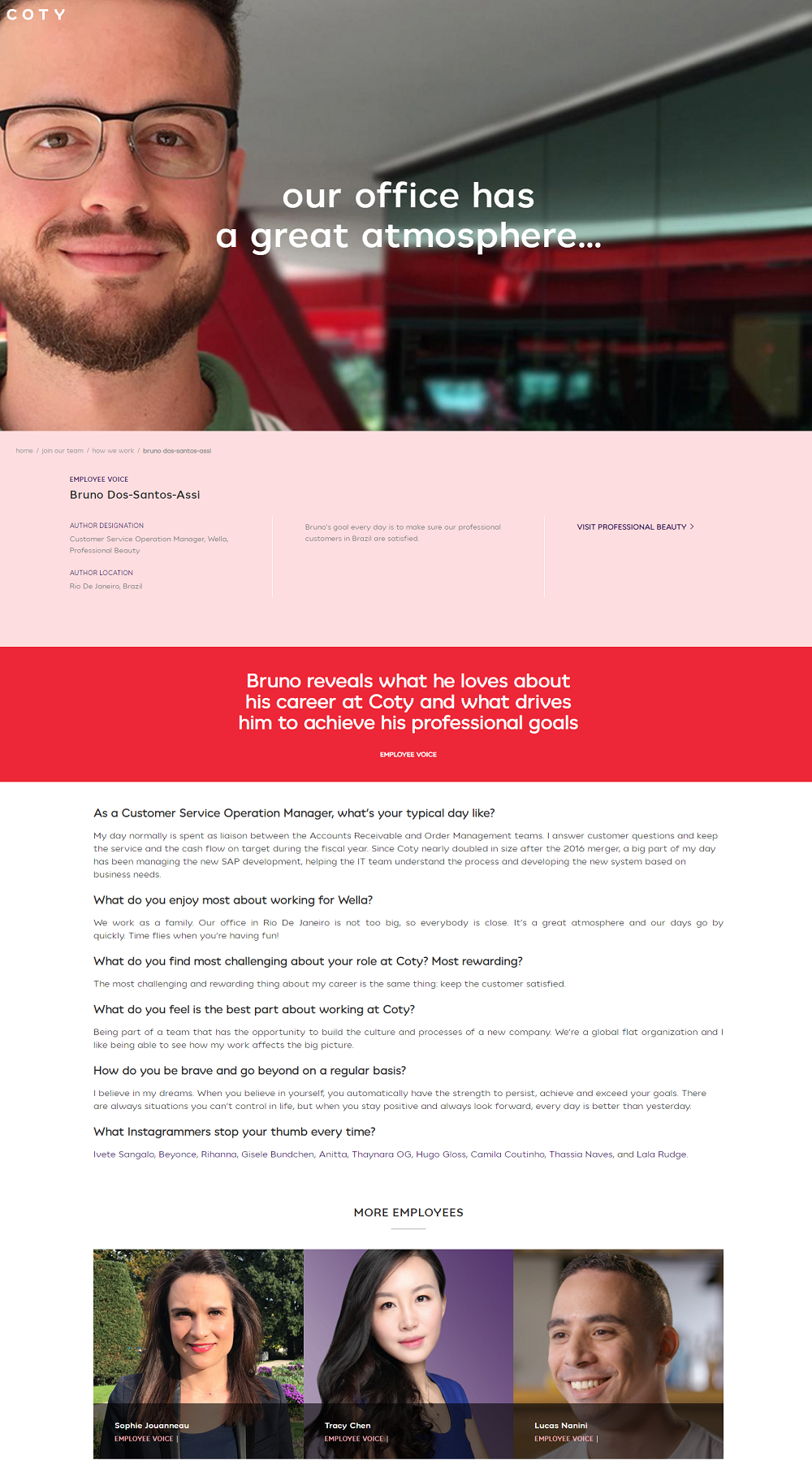 coty employee testimonial example