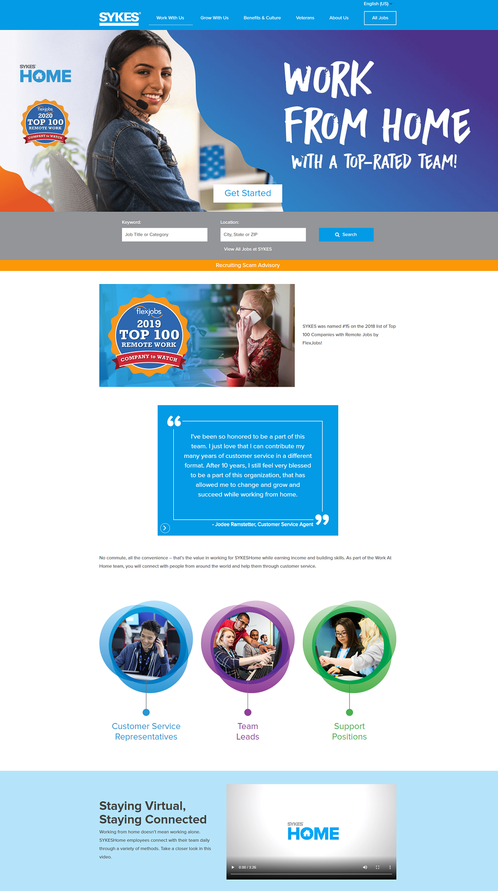 sykes work from home recruiting microsite