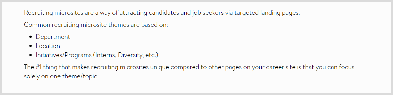 recruiting microsite definition