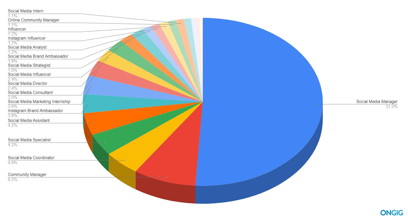 social media job titles pie chart