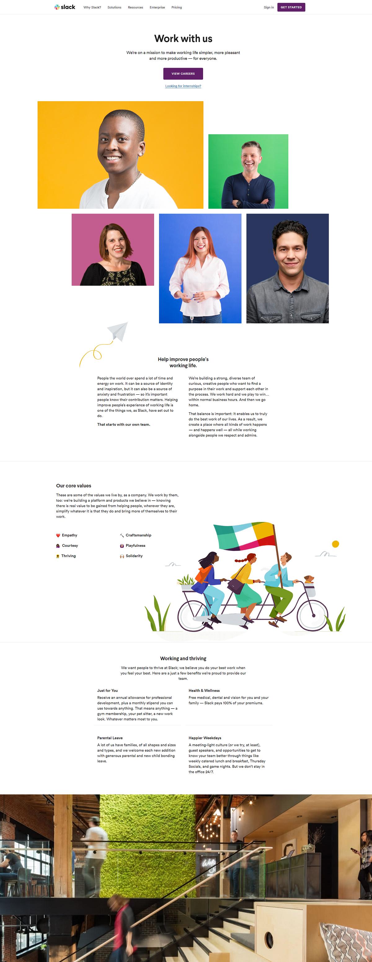 Slack company career page