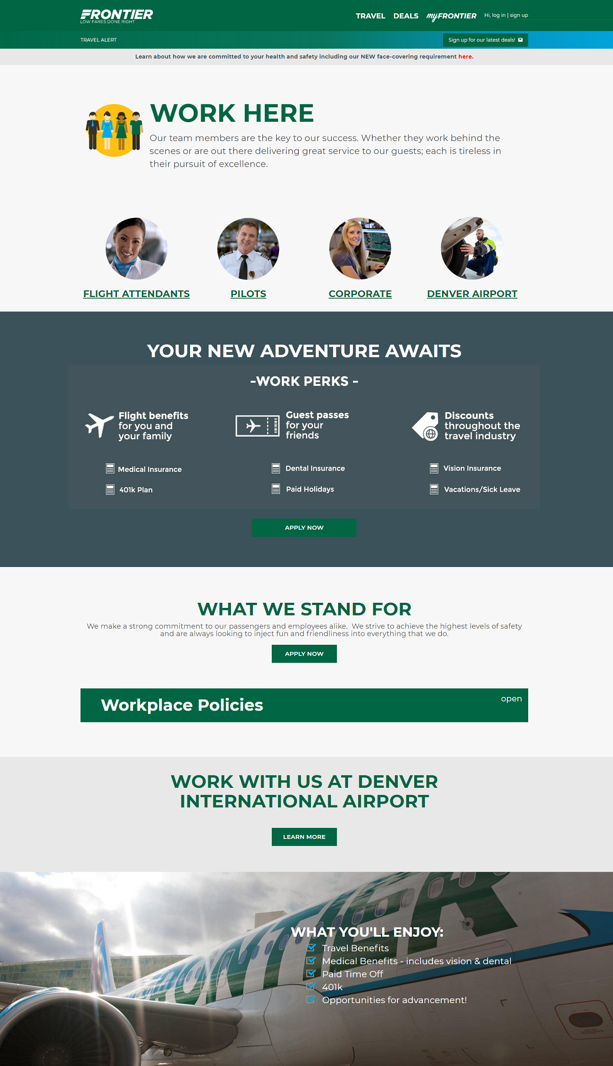 frontier airlines company career page