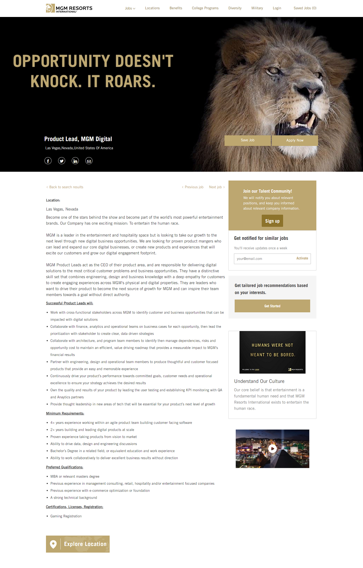 mgm resorts job description