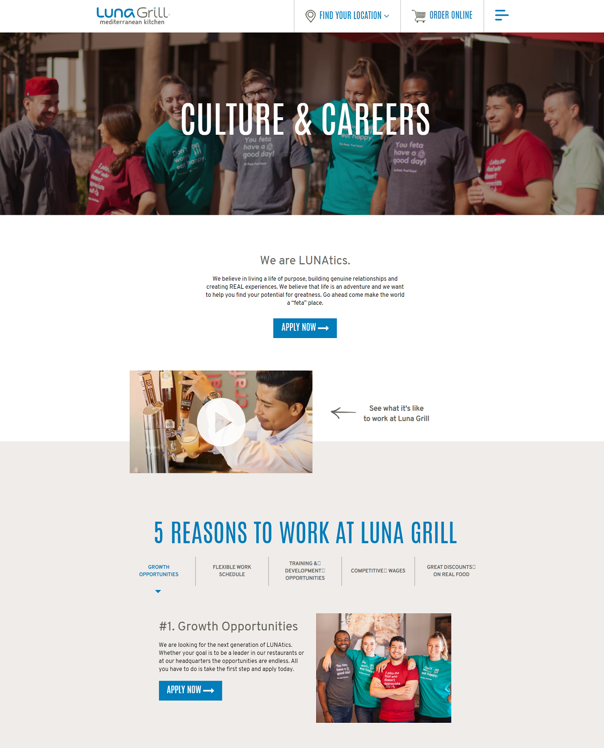 luna grill career page