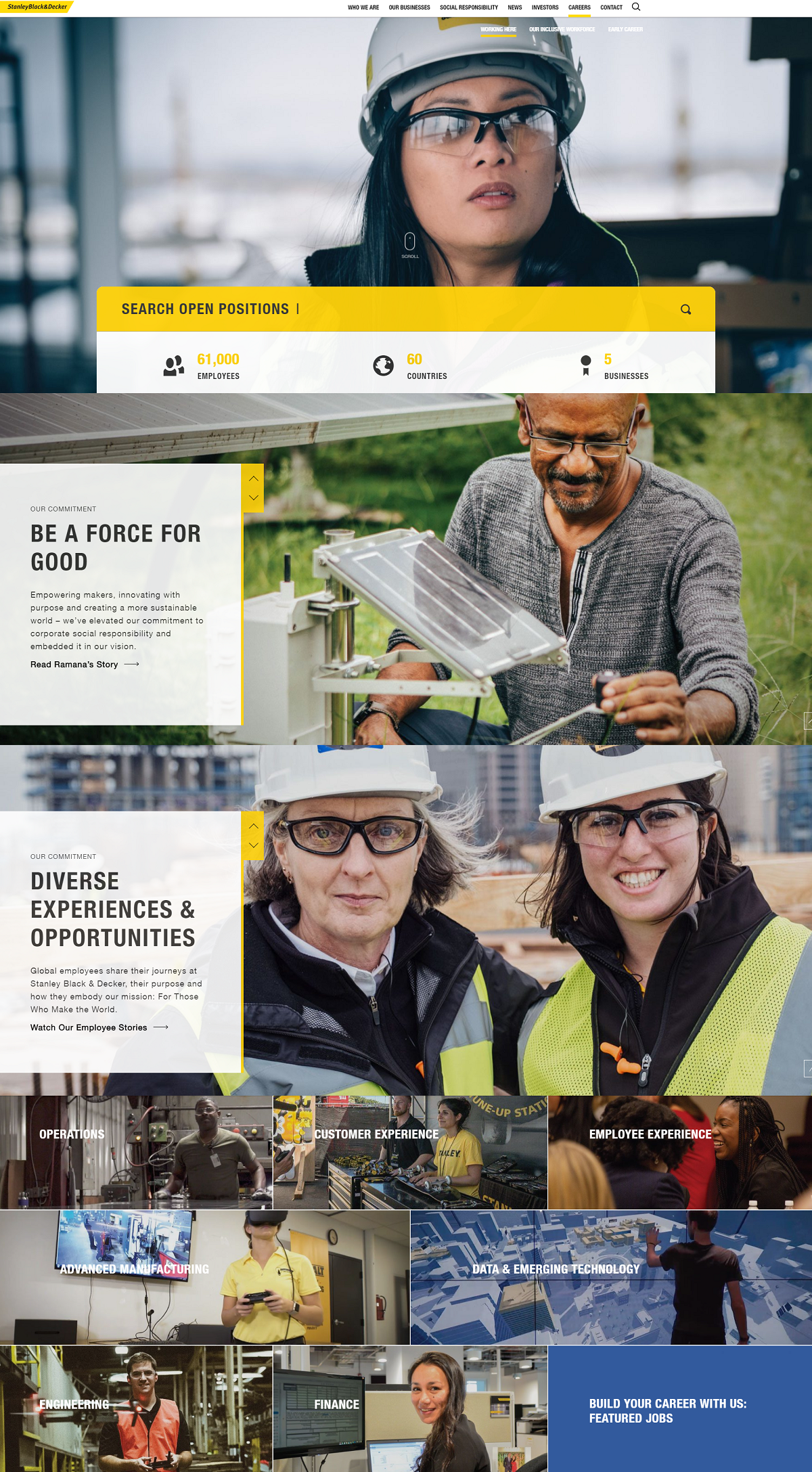 stanley black and decker career page