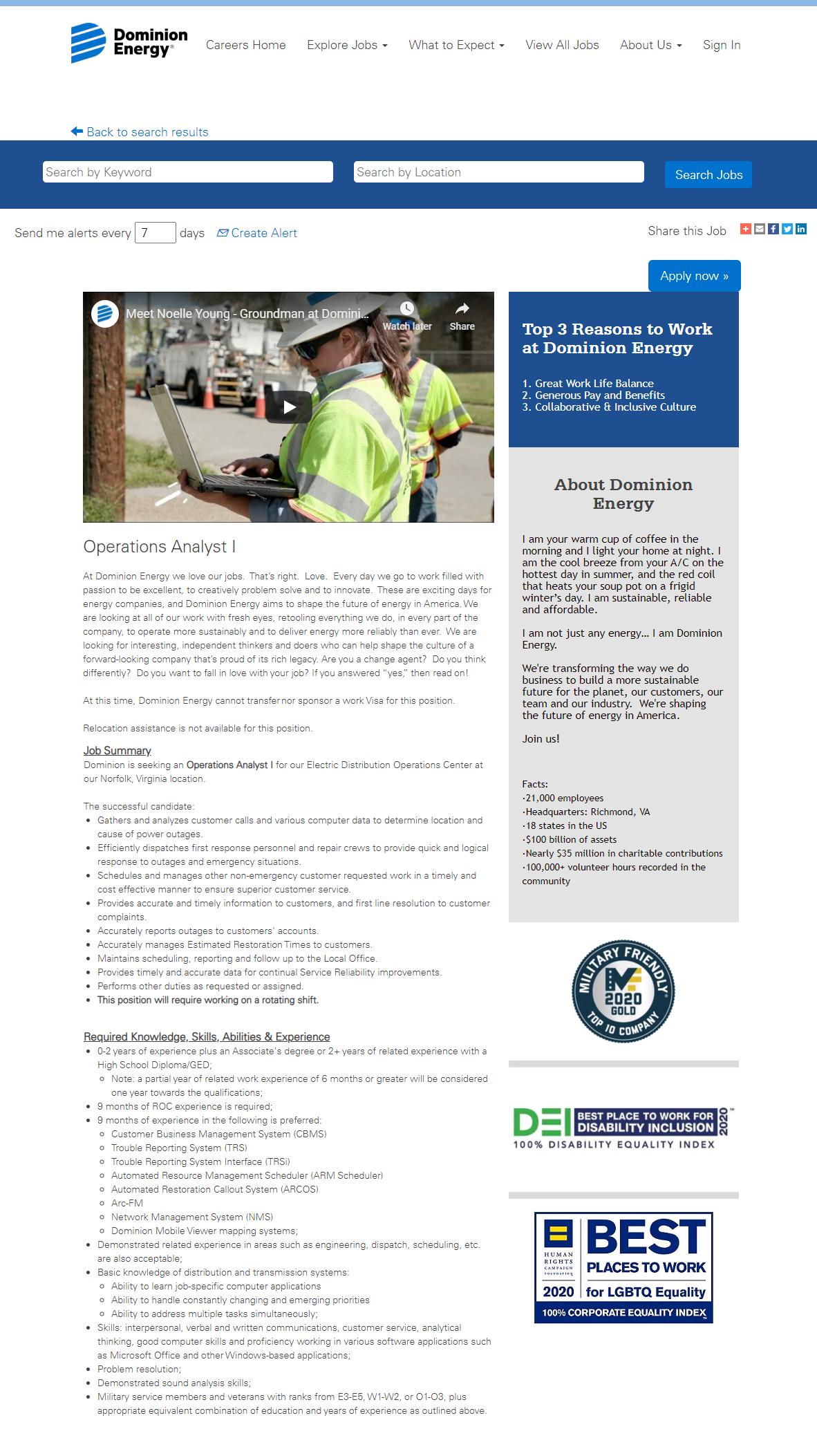 dominion energy job posting