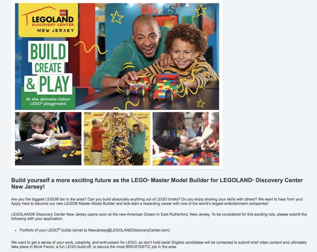 lego dream job marketing page