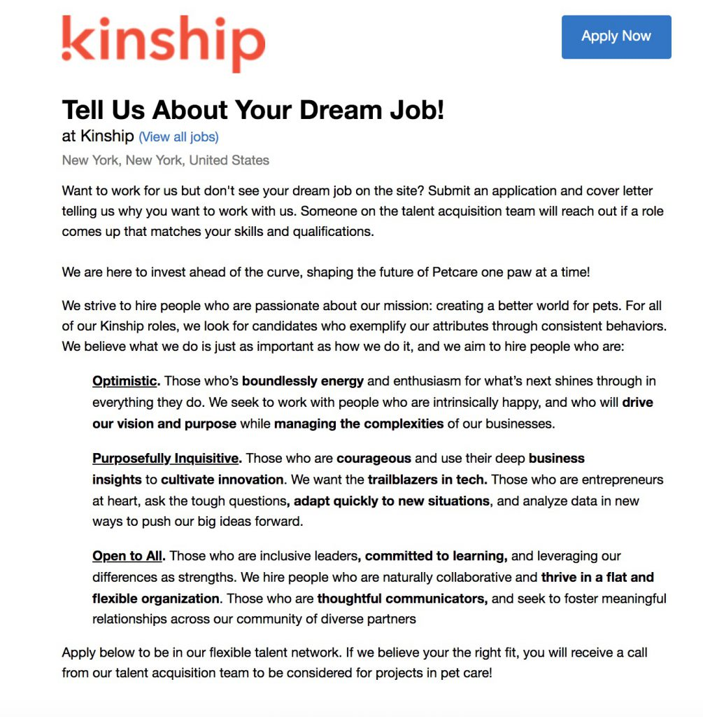 kinship dream job marketing page
