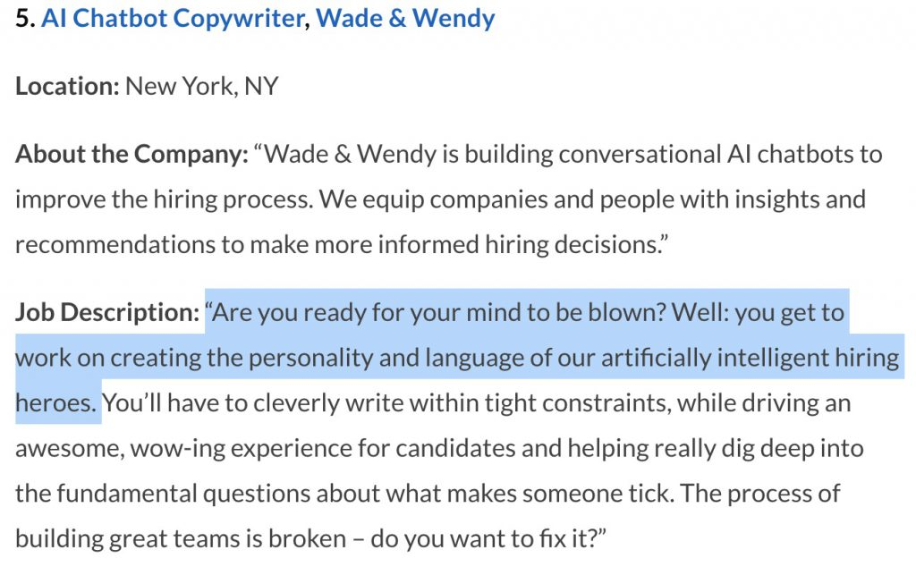 wade and wendy catchy phrases for job postings